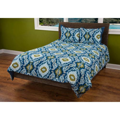Seaglass Blue Three-Piece Queen Comforter Set
