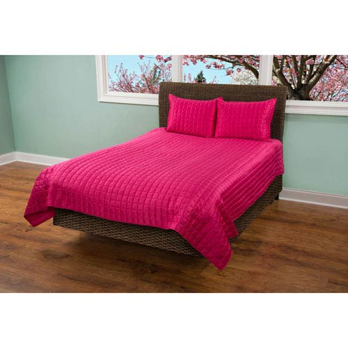 Satinology Pink Two-Piece Twin Quilt Set