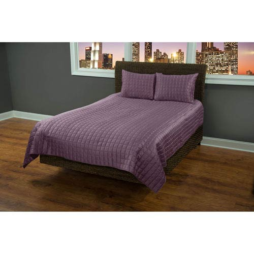 Satinology Purple Two-Piece Twin Quilt Set