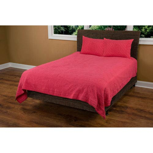 Moroccan Fling Coral Twin Quilt