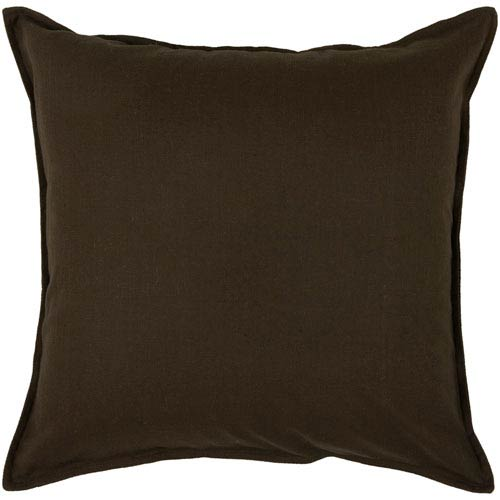 Solid Cotton Brown 20-Inch Throw Pillow