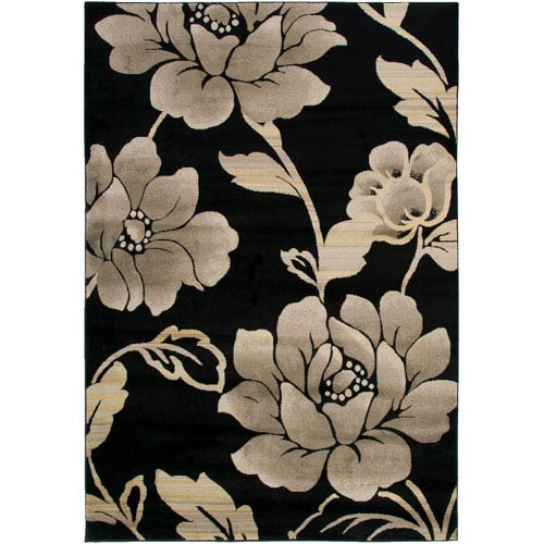 Rizzy Rugs Bayside Black and Gray Rectangular: 5 Ft. 3 In. x 7 Ft. 7 In. Rug