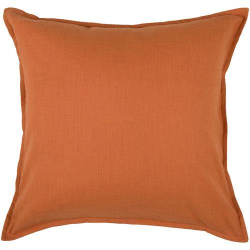 Solid Cotton Orange 20-Inch Throw Pillow