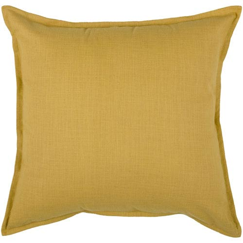 Solid Cotton Yellow 20-Inch Throw Pillow