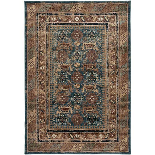Rizzy Rugs Bellevue Blue, Gray and Ivory Rectangular: 5 Ft. 3 In. x 7 Ft. 7 In. Rug