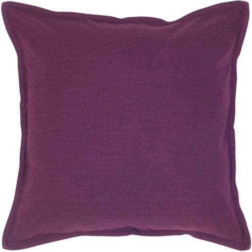 Solid Cotton Purple 20-Inch Throw Pillow