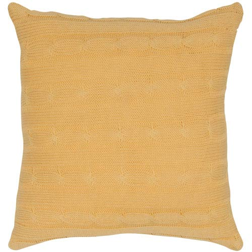Cable Knit Yellow 18-Inch Throw Pillow