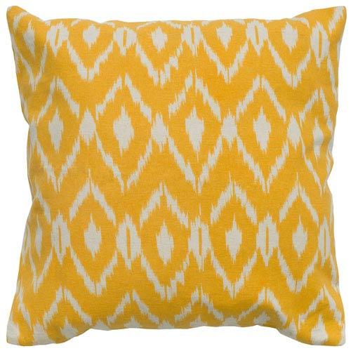 Ikat Pillow Cover Yellow 18-Inch Throw Pillow