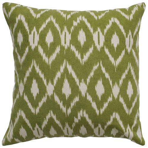 Ikat Pillow Cover Green 18-Inch Throw Pillow