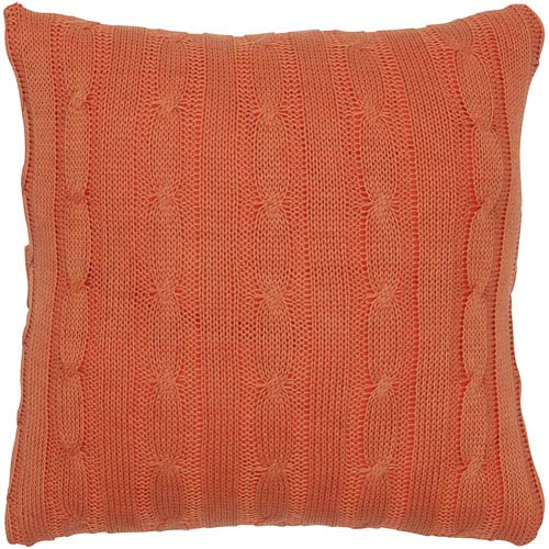 Cable Knit Orange 18-Inch Throw Pillow