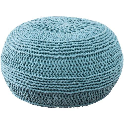 Cable Knit Solid Aqua Pouf