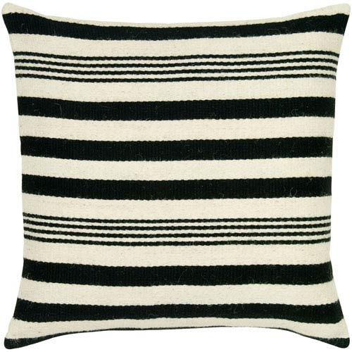 Nautical Stripes Black 24-Inch Throw Pillow