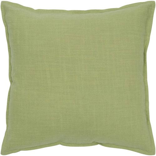 Solid Cotton Lime 20-Inch Throw Pillow