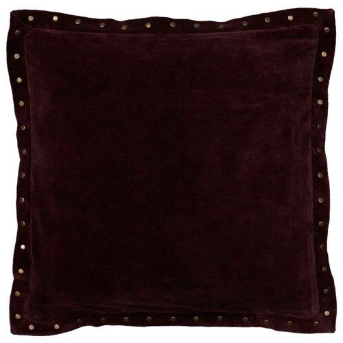 Solid Rivet Flange Plum 18-Inch Throw Pillow