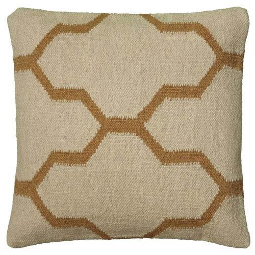 Wool Dhurrie Beige 18-Inch Throw Pillow