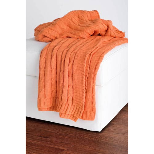 Knit Orange Throw
