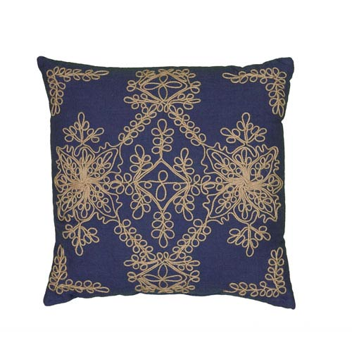 Jute Cord Stitch Blue 18-Inch Throw Pillow