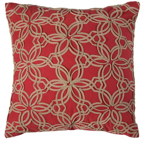 Double Stitch Floral Red 20-Inch Throw Pillow