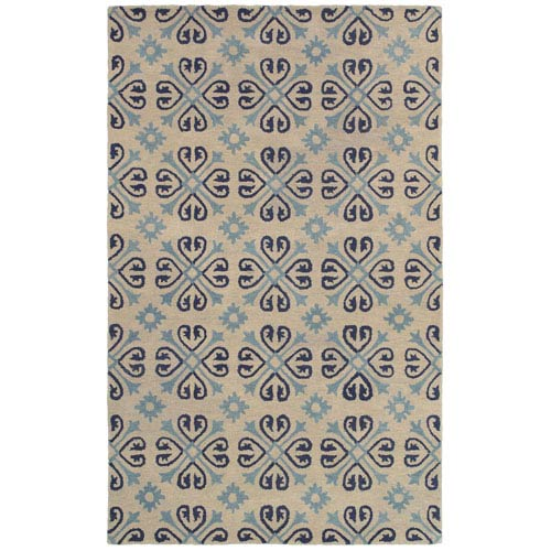 Rizzy Rugs Opus Ivory and Light Blue Rectangular: 5 Ft. x 8 Ft. Rug