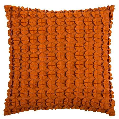 Felt Circles Orange 20-Inch Throw Pillow
