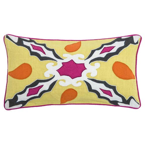 Laura Fair Yellow  11 x 21-Inch Throw Pillow