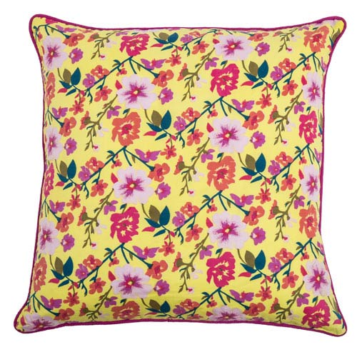 Laura Fair Yellow  20-Inch Throw Pillow