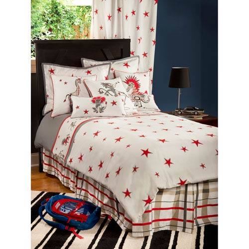 Rachel Kate Punk Animal Stars White Three-Piece Full/Queen Comforter Set