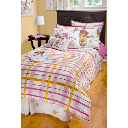 Rachel Kate Punk Animal Plaid White Three-Piece Full/Queen Comforter Set