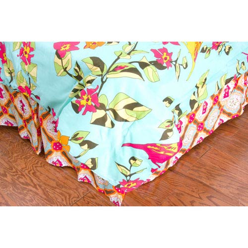 Laura Fair Birds in Paradise Hot Pink Twin Bed Skirt