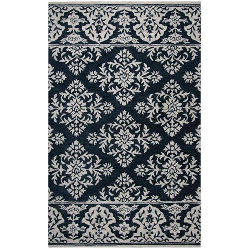 Rizzy Rugs Marianna Fields Navy Rectangular: 5 Ft. x 8 Ft.  Rug