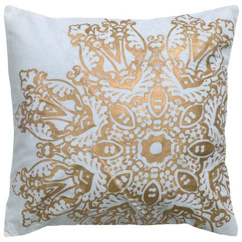White and Gold 18-Inch Holiday Pillow