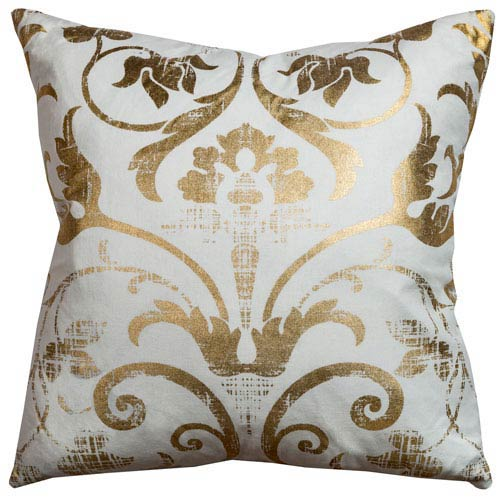 Ivory and Gold 20-Inch Holiday Pillow