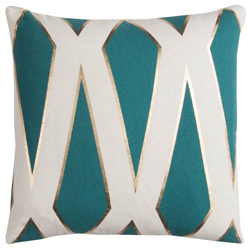 Rachel Kate Geometric Teal and White 20 In. Pillow Cover