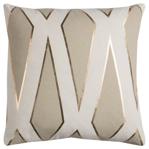 Rizzy Rugs Rachel Kate Geometric Gray and White 20 In. Pillow Cover