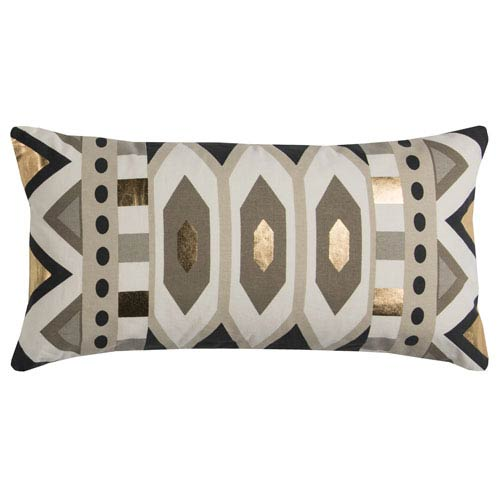 Rizzy Rugs Rachel Kate Geometric Gray and Gold 11 x 20 In. Pillow Cover