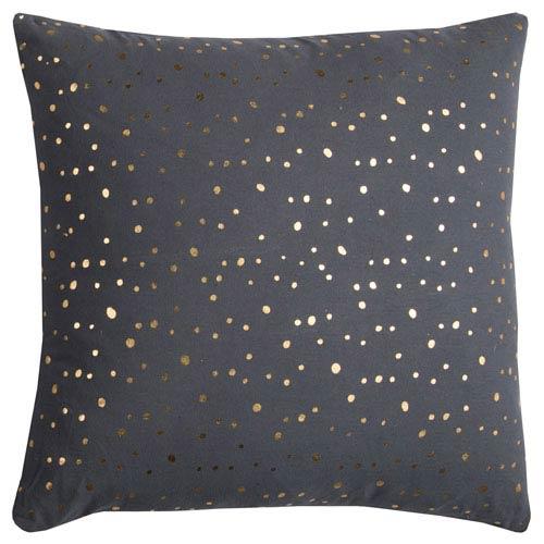 Rizzy Rugs Rachel Kate Gray and Gold Dots 20 In. Pillow Cover