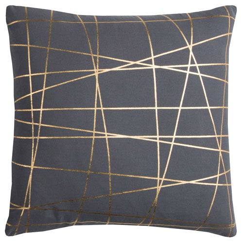 Rizzy Rugs Rachel Kate Abstract Gray and Gold 20 In. Pillow Cover