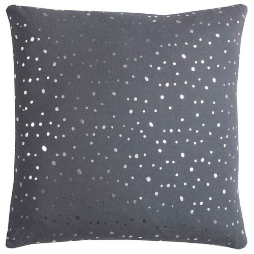 Rizzy Rugs Rachel Kate Gray and Silver Dots 20 In. Pillow Cover