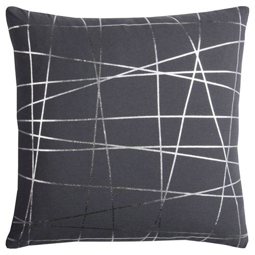 Rizzy Rugs Rachel Kate Abstract Gray and Silver 20 In. Pillow Cover