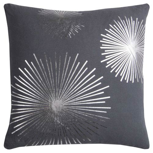 Rizzy Rugs Rachel Kate Starburst Gray and Silver 20 In. Pillow Cover