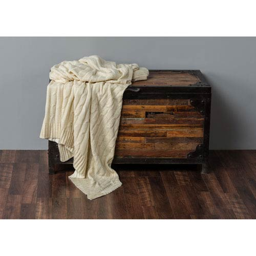 Cream Classic Cable Knit Throw with Foil Print