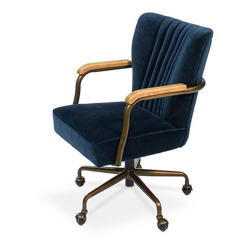 Blue Brooks Swivel Upholsterd Chairs