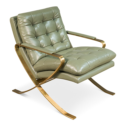 Green and Gold Leather Seating Chair
