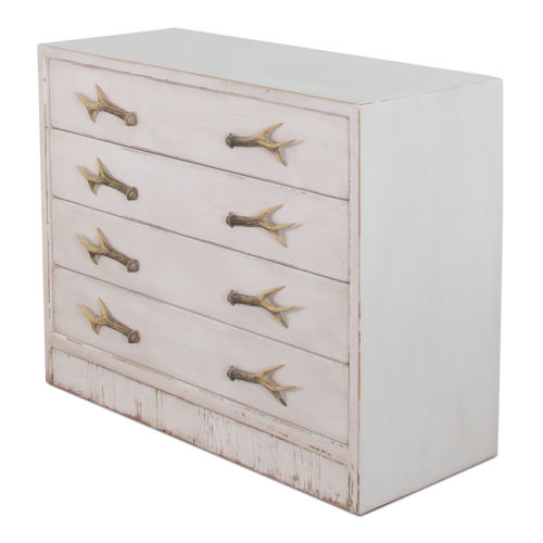 White 18-Inch Beach House Antlers Commode