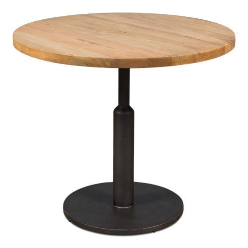 Tan 36-Inch Gunmetal Round Dining Table