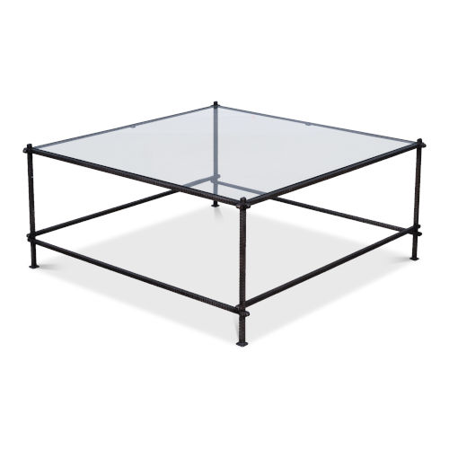 White Serrated Edge Iron Coffee Table