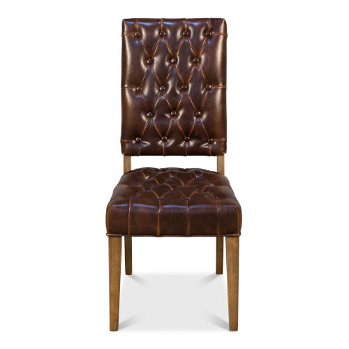 Brown 40-Inch Brady Leather Side Chair
