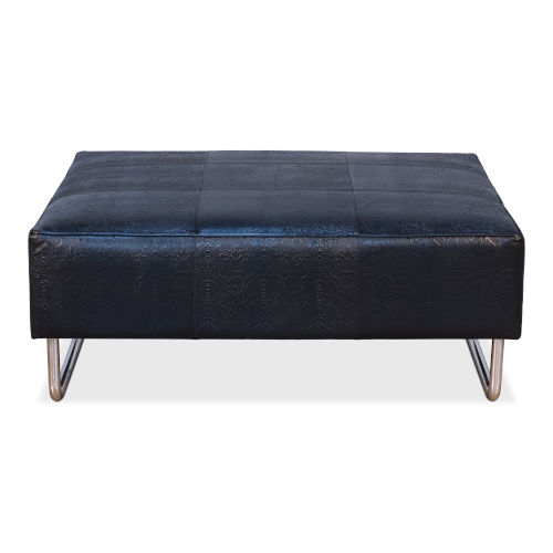 Black 33-Inch Black Embossed Leather Ottoman
