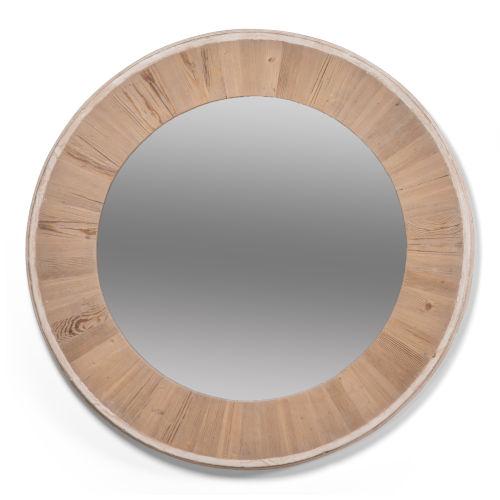 White 30 x 30 Inches Circular Wood Mirror