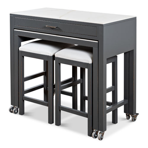 Gray Simple Kitchen Island with Table and Two Stools